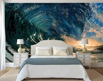 Wave Wallpaper, Wall Decal Ocean, Wall Mural Sun, Waves Wallpaper, Wall Mural Wave, Beach Wall Art