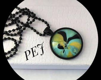 Yellow/black,handpainted,pendant,necklace,giftsforher,watermarble,jewelry,glass