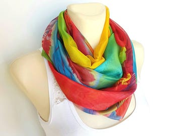 Silk Chiffon Scarf Rainbow Scarf Silk Infinity Scarf Silk Scarves for Women Spring Scarf Red Yellow Blue 05i Summer Gift for Mother Outdoor