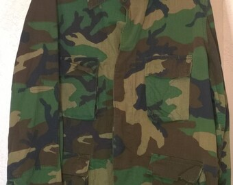 Vintage 1980s Camouflage Army Jacket Military, Selma Apparel Corp Large Size