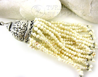 Freshwater Pearl Beaded Tassel with Antique Silver Plated Tassel Cap, Pearl Tassel Necklace, Turkish Jewelry