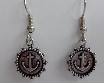 Anchor earrings antique silver
