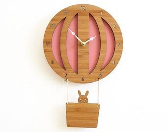 Pink Hot Air Balloon Wall Clock, For girls, birthday present idea, baby shower gift, wall decor, wall art, heirloom gift