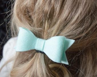 Hair Bow - Classic Aqua Felt Hair Bow with Tails