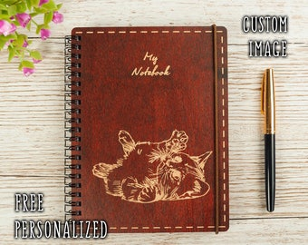 Personalized NOTEBOOK your IMAGE TEXT wood diary notebook wooden Journal engreved notebook sketchbook custom notebook wooden gift Cat