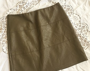 Olive Green Faux Leather Mini Skirt