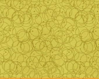 Flirt by Another Point of View for Windham Fabrics - Chartreuse Green Modern Blender with Scribble Circles