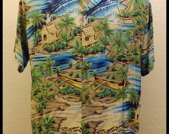 Ocean Current RAYON Hawaiian Shirt Ocean and Village Print