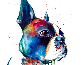 Colorful Boston Terrier Art Print - Print of my Original Watercolor Painting (FREE Shipping)