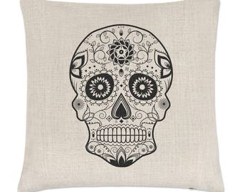 Black Sugar Skull Linen Cushion Cover