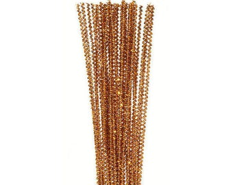"""35, 3mm, Gold Tinsel Stems, Pipe Cleaners, 12"""" Long"""