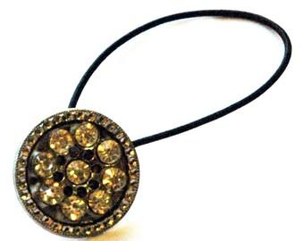 Silver Metal Rhinestone Ponytail Holder, Vintage Rhinestone Button, Delicately Patterned Silver Metal, Hair Accessories, Fancy Hair Tie