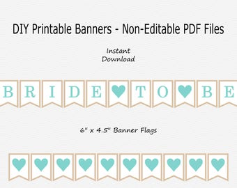 Bride To Be Banner with Hearts - Robin Egg Blue & Light Beige - PRINTABLE - INSTANT DOWNLOAD