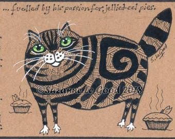 ACEO Tabby Cat art painting  art card, artists trading card, comical, fat cat, on Kraft card by Suzanne Le Good