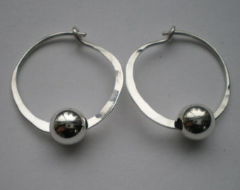 "Sterling Silver 1"" Hoops with Bead"