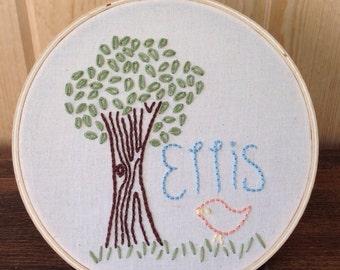 Birdie Tree . Custom Embroidery Hoop