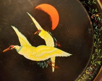 Japanese Cranes at Night Tin Platter