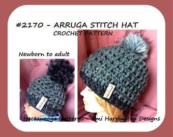 crochet hat pattern, arruga stitch, newborn to adult, hat crochet pattern, boys-girls-men-women- #2170 crochet hat pattern