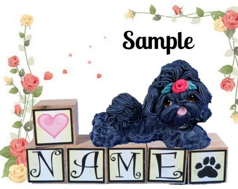 black Shih Tzu dog with red rose in top knot PERSONALIZED with your dog's name on blocks by Sally's Bits of Clay
