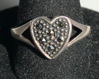 Sterling Silver Marcasite Heart Ring-Size 6