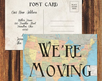 We're Moving New Address Post Card//FREE SHIPPING