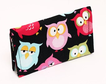 Business Card Holder, Mini Wallet, Business Card Wallet, Animal Gift Card Case, Cute Stocking Stuffer - blue red green owls
