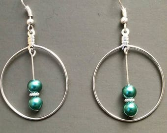 Silver Hoop Earrings with Green Glass Beads