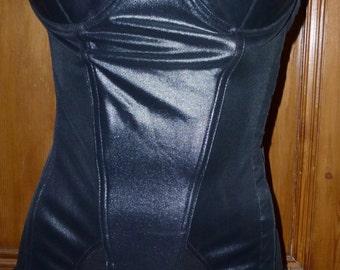 Vintage 70's wet look basque corselette bustier by Kesman burlesque fetish