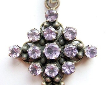 CROSS, Sterling , Silver, AMETHYST, Religious, Gothic, Bail,