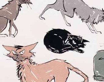 Nine Ghastlie Lives by Alexander Henry Fabric Ghastly Cats in Natural 9 Ghastlie Cats