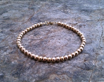 Gold Filled 14K Beads Bracelet. 3mm Beads. Everyday Wear. 14K Yellow Gold Balls Bracelet, Simple Gold Bracelet,  Stackable bracelet