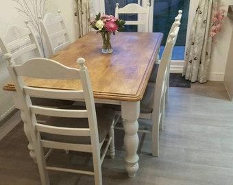 Gorgeous 6ft Table & Chair Set - Grey/Cream/White/Off White Finish