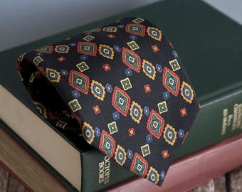 Vintage silk tie, italian mens necktie, silk neck tie, classic cravat cravatte / navy blue red green