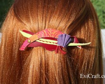 colourful Leather French hair barrette, Handmade Leather Hair clip, women Hair Accessory, hair fashion, red leather accessory, scrap leather
