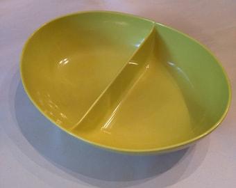 Vintage melamine divided serving bowl