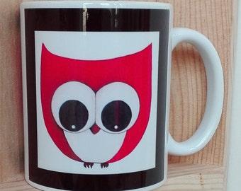 Fun red OWL printed mug