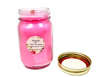 Bombshell Type Soy Wax Candle, Floral Scent, Womens Fragrance, VS Bombshell, Highly Scented, Wild Rose Scent
