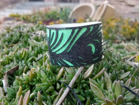 Sparkle Vinyl Cuff Bracelet - Layered Peacock Feather. Choose your color.