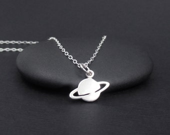 Saturn Necklace Sterling Silver Tiny Planet Necklace, Space Necklace, Space Jewelry, Planet Jewelry