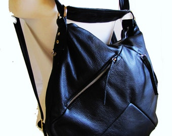 Black Leather Bucket Bag Horse shoe shaped purse Convertible backpack to messenger and shoulder tote