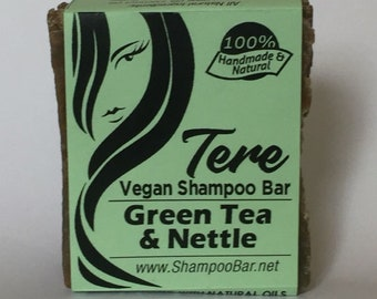 Solid Shampoo - Green Tea Nettle Shampoo Bar - Natural Shampoo - Solid Shampoo Bar - Natural Shampoo Bar - Vegan Palm Oil Free, Shampoo Soap