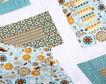 """Sale  Baby Boy Quilt - Modern Blue Baby Quilt - Blue Baby Blanket - Star Baby Quilt - Crib Quilt - Baby Boy Blanket - Baby Bedding 40"""" x 50"""""""