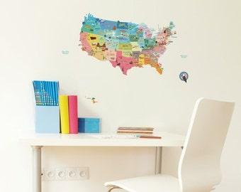 USA Map Wall Decal Sticker / USA Map Sticker / United States Wall Decal Sticker