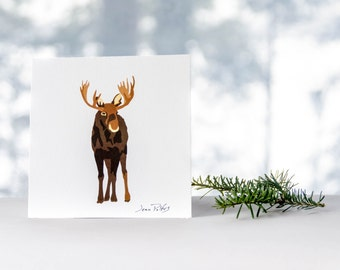 Moose drawing, fine art print, wildlife art, wild animal drawing, woodland animal, nursery wall art, forest animals, moose illustration