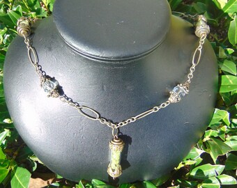 peridot, necklace, glass filled bottles, with crystals. 26 in chain, ant brass