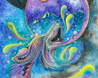 Howling at the Moon - Watercolor Print