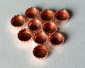 4 mm Serrated Round Bezel Cups Copper Setting - Quantity 10 - Jewelry or Craft Supply