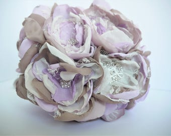 Lavender Fabric Flower Bouquet | Brooch Bouquet | Fabric Flower Bridal Bouquet| Purple, Lavender, Shabby Chic Bouquet | Vintage Bouquet