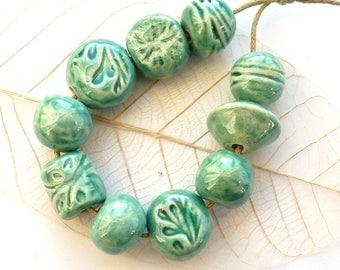 Ceramic beads ~ 10 handmade clay beads, Maker's Village, ceramic bead, earthenware beads set, handmade jewellery supplies, unique supply