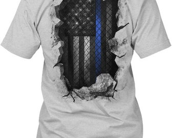 Thin Blue Line: Breakthrough Hanes Tagless Tee Tshirt